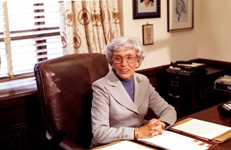 """<a href=""""http://www.senate.gov/artandhistory/history/common/briefing/women_senators.htm""""><strong>Served from:</strong></a> 1978 Muriel Humphrey sits at a desk in the Senate Office Building, vacated by the death of her husband, Sen. Hubert H. Humphrey. She was named by Minnesota Gov. Rudy Perpich to fill his seat and sworn in February 1978. (AP Photo/Peter Bregg)"""