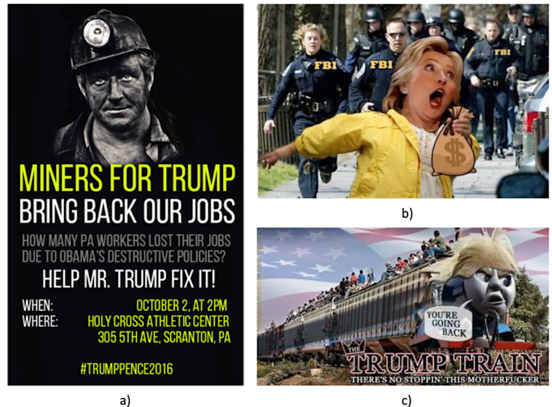 Sample memes including 'miners for Trump' and a caricature of Hillary Clinton.