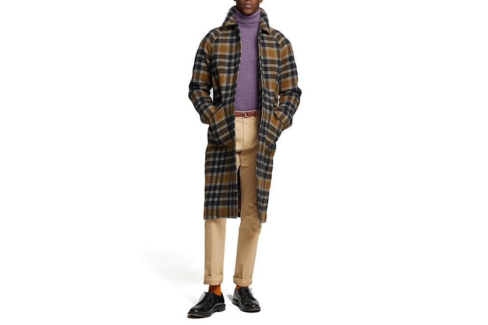 """$898, Todd Snyder. <a href=""""https://www.toddsnyder.com/collections/new-arrivals/products/wool-snap-raglan-coat-olive"""" rel=""""nofollow noopener"""" target=""""_blank"""" data-ylk=""""slk:Get it now!"""" class=""""link rapid-noclick-resp"""">Get it now!</a>"""