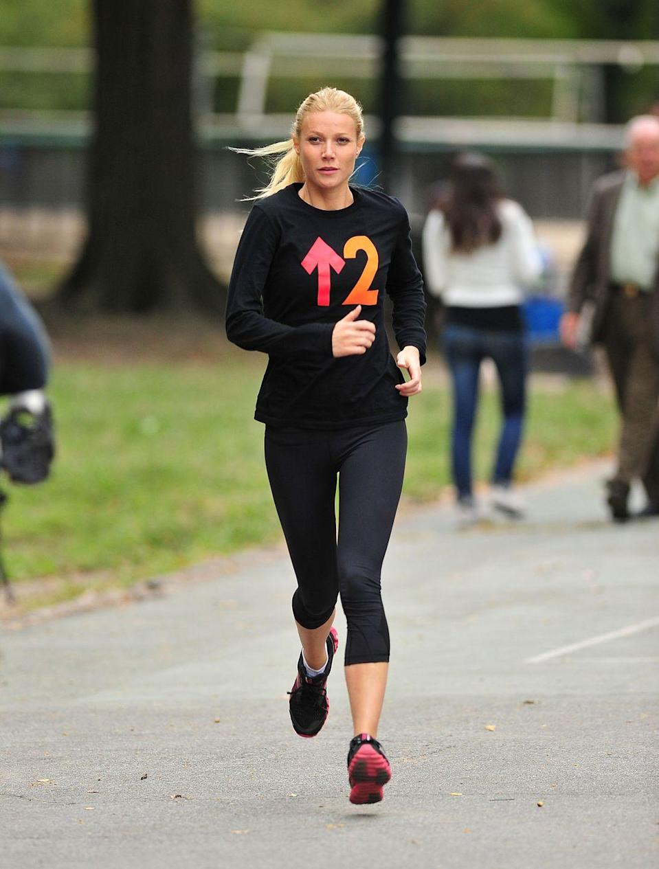 """<p>Paltrow credits her long-time trainer Tracy Anderson—plus a (mostly) clean diet low in grains and sugar, according to <a href=""""https://www.shape.com/celebrities/interviews/gwyneth-paltrow-diet-cleanse"""" rel=""""nofollow noopener"""" target=""""_blank"""" data-ylk=""""slk:Shape"""" class=""""link rapid-noclick-resp""""><em>Shape</em></a>—for her top-notch physique. The 48-year-old is also a fan of infrared saunas, often praising their detoxifying properties. </p>"""