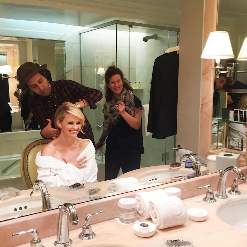 "<p>You'd think the actress would be used to these things by now, but she was positively giddy about getting her hair styled. ""Countdown to the #GoldenGlobes #GlamSquad #Prep,"" she captioned this pic. (Photo: <a rel=""nofollow"" href=""https://www.instagram.com/p/BPBcltpAxBf/"">Instagram</a>) </p>"