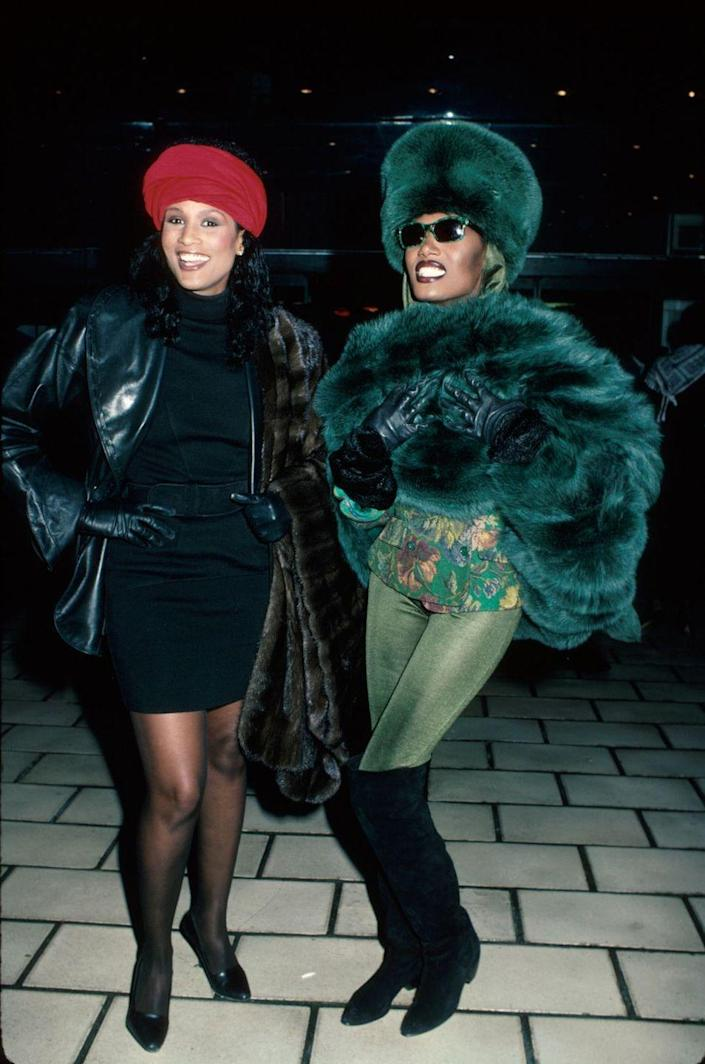 <p>Beverly Johnson and Grace Jones show off their outfits. </p>