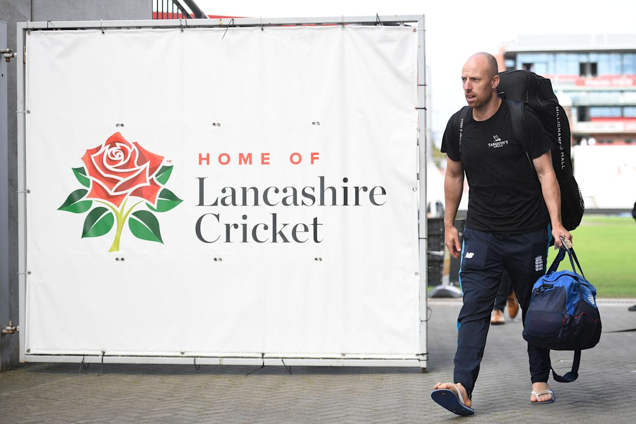 England's Jack Leach leaves Old Trafford cricket ground after the fifth cricket Test match between England and India was cancelled due to Covid-19 concerns/