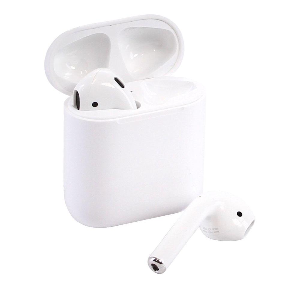 """<p><strong>Apple</strong></p><p>amazon.com</p><p><a href=""""https://www.amazon.com/dp/B07PYLT6DN?tag=syn-yahoo-20&ascsubtag=%5Bartid%7C10056.g.36788447%5Bsrc%7Cyahoo-us"""" rel=""""nofollow noopener"""" target=""""_blank"""" data-ylk=""""slk:Shop Now"""" class=""""link rapid-noclick-resp"""">Shop Now</a></p><p><del>$199.00</del> $149.99 <strong>(25% off)</strong></p><p>Ah, the OG Airpods. Answer calls, listen to your favorite tunes, and do it all without the hassle of dealing with those pesky cords. </p>"""