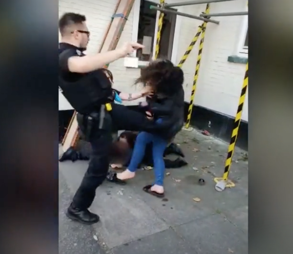 The officer is now being investigated after footage of the incident was circulated on social media. (SWNS)