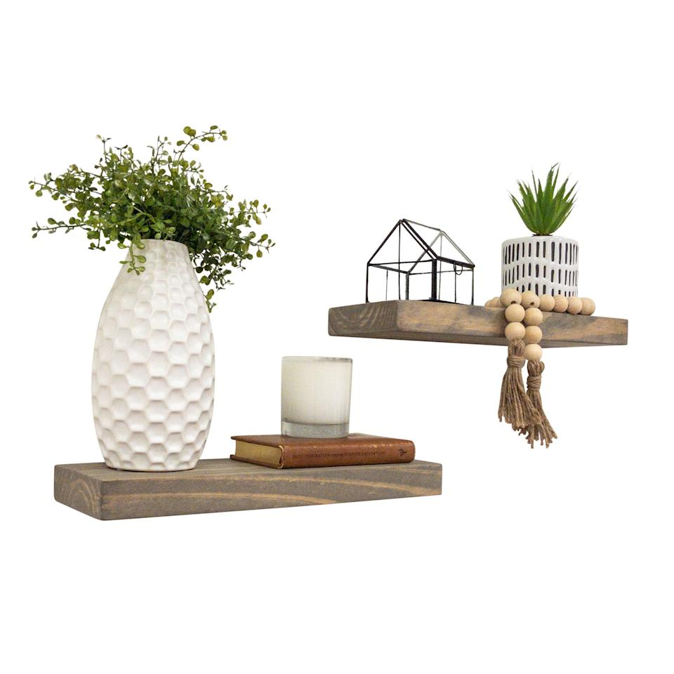 "<br><br><strong>Gracie Oaks</strong> Evonne 2 Piece Solid Wood Floating Shelves (Set Of 2), $, available at <a href=""https://go.skimresources.com/?id=30283X879131&url=https%3A%2F%2Fwww.wayfair.com%2Fstorage-organization%2Fpdp%2Fgracie-oaks-evonne-2-piece-pine-solid-wood-floating-shelf-w000239997.html"" rel=""nofollow noopener"" target=""_blank"" data-ylk=""slk:Wayfair"" class=""link rapid-noclick-resp"">Wayfair</a>"