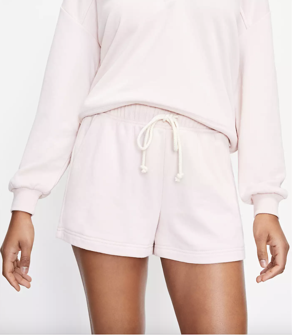 """The brand behind some of the internet's <a href=""""https://www.glamour.com/gallery/best-sweatpants-for-women?mbid=synd_yahoo_rss"""" rel=""""nofollow noopener"""" target=""""_blank"""" data-ylk=""""slk:softest sweats"""" class=""""link rapid-noclick-resp"""">softest sweats</a> also makes shorts in a similar fabric so naturally we want this in our rotation, stat. The shorts come in sizes XXS to XXL—and you can choose between regular or petite depending on how long you like the inseam. $35, Loft. <a href=""""https://www.loft.com/lou-&-grey-cozy-cotton-terry-shorts/559091?=undefined&selectedColor=2899"""" rel=""""nofollow noopener"""" target=""""_blank"""" data-ylk=""""slk:Get it now!"""" class=""""link rapid-noclick-resp"""">Get it now!</a>"""