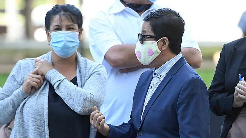 My Ut Trinh is seen departing the Brisbane District Court, in Brisbane, Tuesday, July 13, 2021. Source: AAP