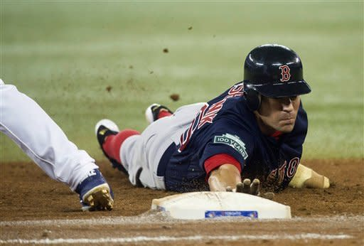 Boston Red Sox's Scott Podsednik, right, slides back to first base after leading off as Toronto Blue Jays first baseman David Copper, left, keeps him close during eighth-inning AL baseball game action in Toronto, Friday, June 1, 2012. (AP Photo/The Canadian Press, Nathan Denette)