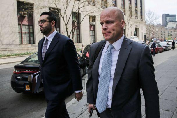 PHOTO: Michael Cohen's attorneys Joseph Evans and Todd Harrison leave the Manhattan Federal Court in New York, April 13, 2018. (Jeenah Moon/Reuters, FILE)