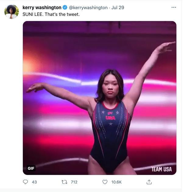 """<p>""""SUNI LEE. That's the tweet,"""" the actress shared, alongside a gif of the Olympic gold medalist. </p>"""