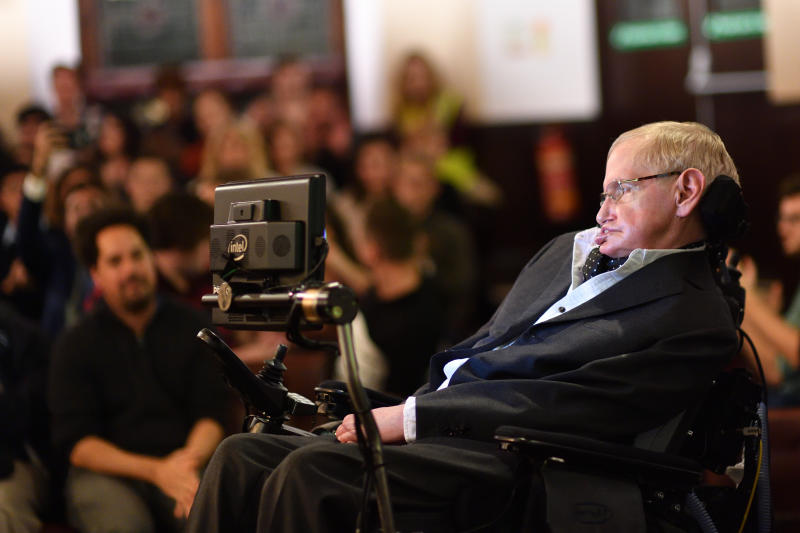 Professor Stephen Hawking addressing The Cambridge Union on Nov. 21, 2017 in Cambridge, Cambridgeshire.