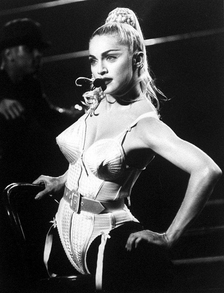 Katy Perry's Met Gala outfit was an homage to Madonna's iconic Gaultier cone corset, pictured here during her Blonde Ambition tour. (Getty Images)