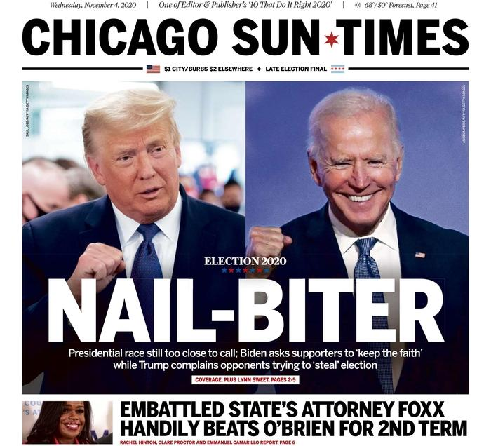 "CHICAGO SUN-TIMES, Published in Chicago, Ill. USA (Courtesy <a href=""https://www.newseum.org/todaysfrontpages/"" rel=""nofollow noopener"" target=""_blank"" data-ylk=""slk:Newseum"" class=""link rapid-noclick-resp"">Newseum</a>)"