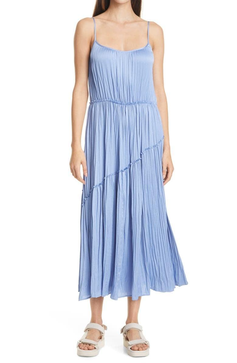 <p>The color of this <span>Vince Tiered Crinkled Slipdress</span> ($425) is gorgeous.</p>