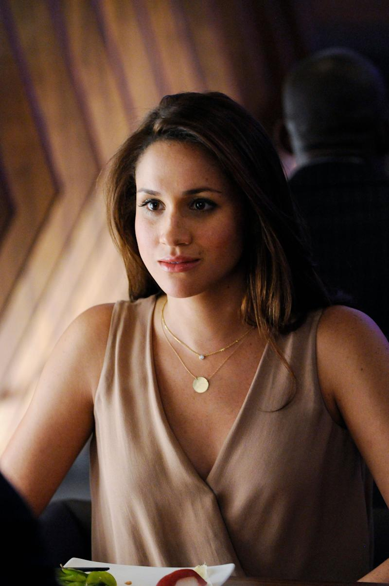 """Meghan Markle on season 2 of the television series """"Suits,"""" which was filmed in Toronto."""