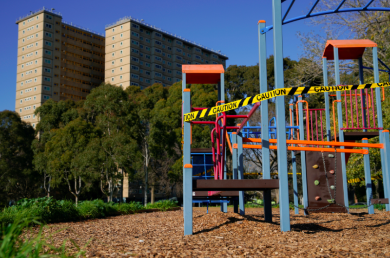 A playground outside the buildings remain out of bounds as lockdown restrictions were brought in. (Reuters)