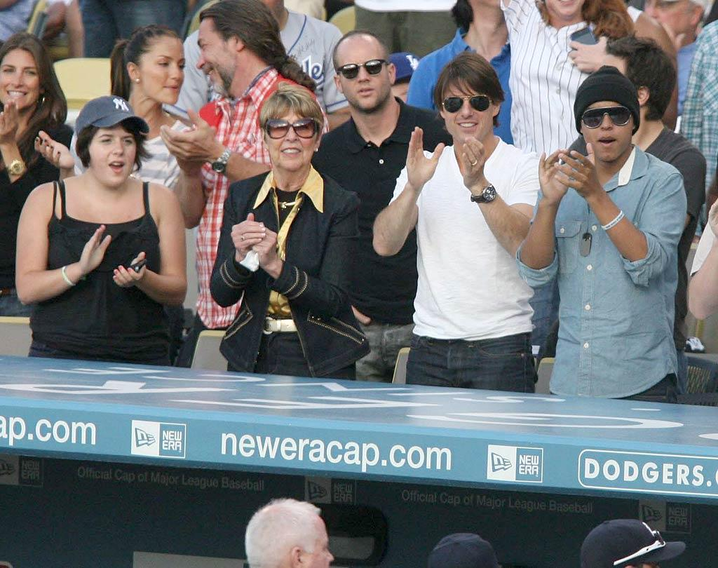 """Tom Cruise, his mom Mary Lee, and his kids Isabella and Connor scored front-row seats right behind the Yankees' dugout. London Entertainment/<a href=""""http://www.splashnewsonline.com"""" target=""""new"""">Splash News</a> - June 27, 2010"""