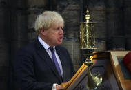Britain's Prime Minister Boris Johnson delivers a speech a service to mark the 80th anniversary of the Battle of Britain at Westminster Abbey, London, Sunday, Sept. 20, 2020. (Aaron Chown/Pool Photo via AP)