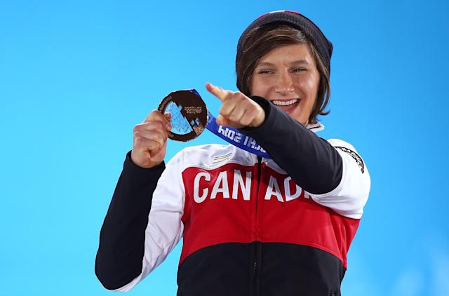 SOCHI, RUSSIA - FEBRUARY 11: Bronze medalist Kim Lamarre of Canada celebrates during the medal ceremony for the Freestyle Skiing Women's Ski Slopestyle on day 4 of the Sochi 2014 Winter Olympics at Medals Plaza on February 11, 2014 in Sochi, . (Photo by Streeter Lecka/Getty Images)