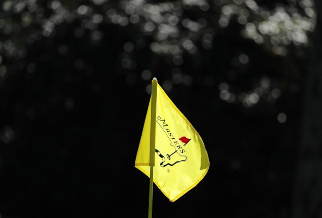 A Masters flag is shown on the 10th green during practice for the 2018 Masters golf tournament at Augusta National Golf Club in Augusta, Georgia, U.S. April 2, 2018. REUTERS/Lucy Nicholson