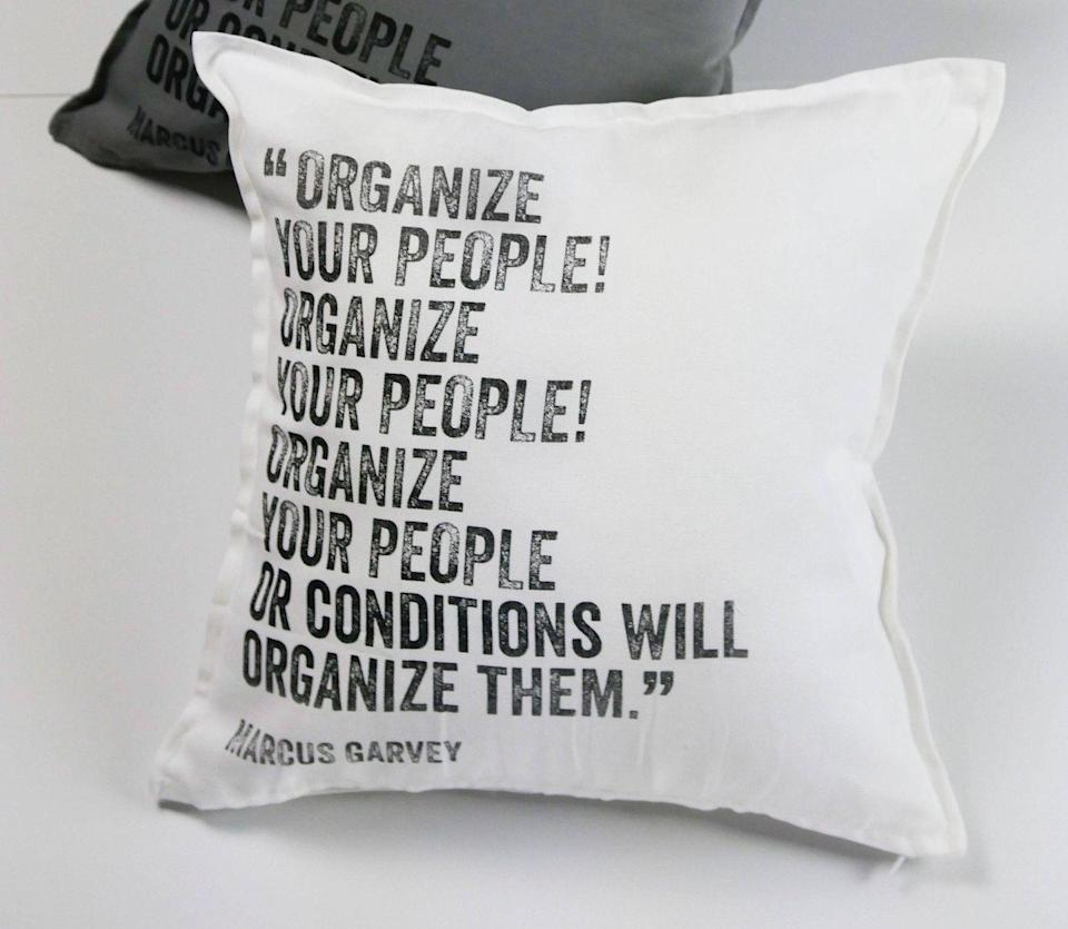 """<p><strong><em>Marcus Garvey Pillow, $39</em></strong></p><p><a class=""""link rapid-noclick-resp"""" href=""""https://go.redirectingat.com?id=74968X1596630&url=https%3A%2F%2Fwww.etsy.com%2Flisting%2F568728905%2Fmarcus-garvey-pillow-100-cotton-20-x-20%3Fref%3Dshop_home_active_24%26sca%3D1&sref=https%3A%2F%2Fwww.housebeautiful.com%2Fshopping%2Fbest-stores%2Fg32729393%2Fblack-owned-home-businesses-to-support%2F"""" rel=""""nofollow noopener"""" target=""""_blank"""" data-ylk=""""slk:SHOP NOW"""">SHOP NOW </a></p><p>Inspired by black leaders throughout history, <a href=""""http://www.dontsleepinteriors.com/"""" rel=""""nofollow noopener"""" target=""""_blank"""" data-ylk=""""slk:Don't Sleep Interiors"""" class=""""link rapid-noclick-resp"""">Don't Sleep Interiors</a> makes pillows, mugs, and more decor items emblazoned with their words and faces. Visit their <a href=""""https://go.redirectingat.com?id=74968X1596630&url=https%3A%2F%2Fwww.etsy.com%2Fshop%2FDontSleepInteriors&sref=https%3A%2F%2Fwww.housebeautiful.com%2Fshopping%2Fbest-stores%2Fg32729393%2Fblack-owned-home-businesses-to-support%2F"""" rel=""""nofollow noopener"""" target=""""_blank"""" data-ylk=""""slk:Etsy shop"""" class=""""link rapid-noclick-resp"""">Etsy shop</a> for more. </p>"""