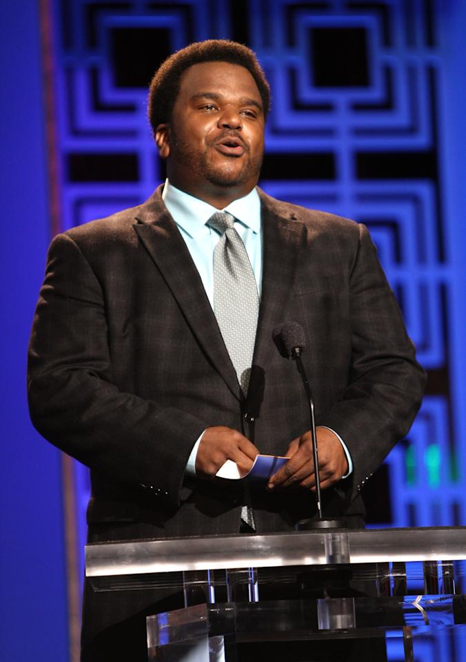 LOS ANGELES, CA - FEBRUARY 17:  Actor Craig Robinson speaks onstage at the 2013 WGAw Writers Guild Awards at JW Marriott Los Angeles at L.A. LIVE on February 17, 2013 in Los Angeles, California.  (Photo by Maury Phillips/Getty Images for WGAw)