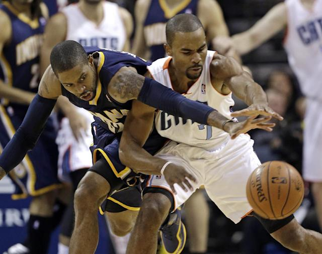 Indiana Pacers' C.J. Watson, left, and Charlotte Bobcats' Ramon Sessions, right, chase a loose ball during the first half of an NBA basketball game in Charlotte, N.C., Wednesday, Nov. 27, 2013. (AP Photo/Chuck Burton)