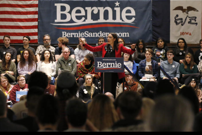 Ocasio-Cortez speaks as a surrogate for Bernie Sanders at the University of Iowa. (Photo: Sue Ogrocki/AP)