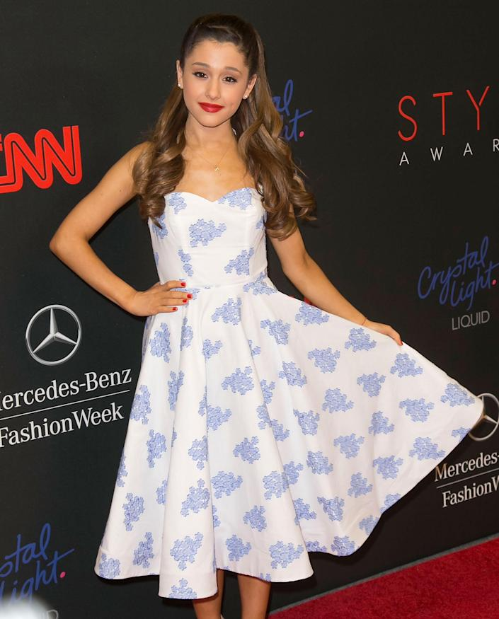 Ariana Grande arrives at the 2013 Style Awards at Lincoln Center on Wednesday, Sept. 4, 2013 in New York. (Photo by Ben Hider/Invision/AP)