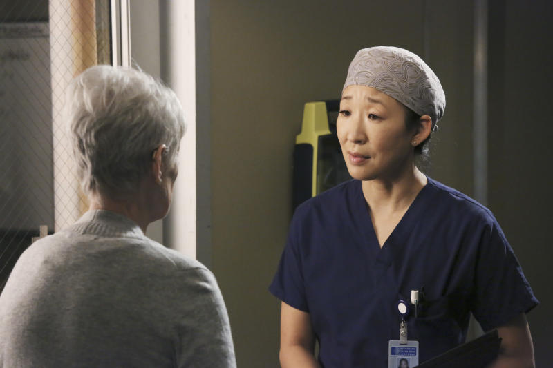 "This publicity image released by ABC shows Sandra Oh, right, in a scene from ""Grey's Anatomy."" ABC says that ""Grey's Anatomy"" star Sandra Oh is leaving the medical drama after the coming season. Shonda Rhimes, the show's creator and executive producer, said she's grateful for what she called the actress' ""brilliant"" work. Rhimes said ""Grey's Anatomy"" will savor Oh's character of Dr. Cristina Yang in the upcoming 10th season, and then give her the exit she deserves. (AP Photo/ABC, Richard Cartwright)"