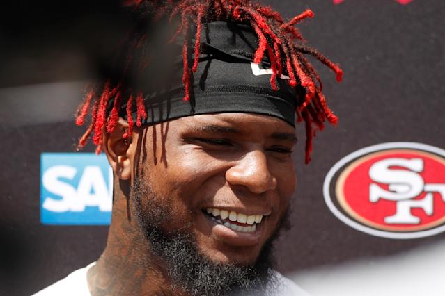 San Francisco 49ers middle linebacker Kwon Alexander jokes with reporters after a combined NFL football training camp with the Denver Broncos at the Broncos' headquarters Friday, Aug. 16, 2019, in Englewood, Colo. (AP Photo/David Zalubowski)