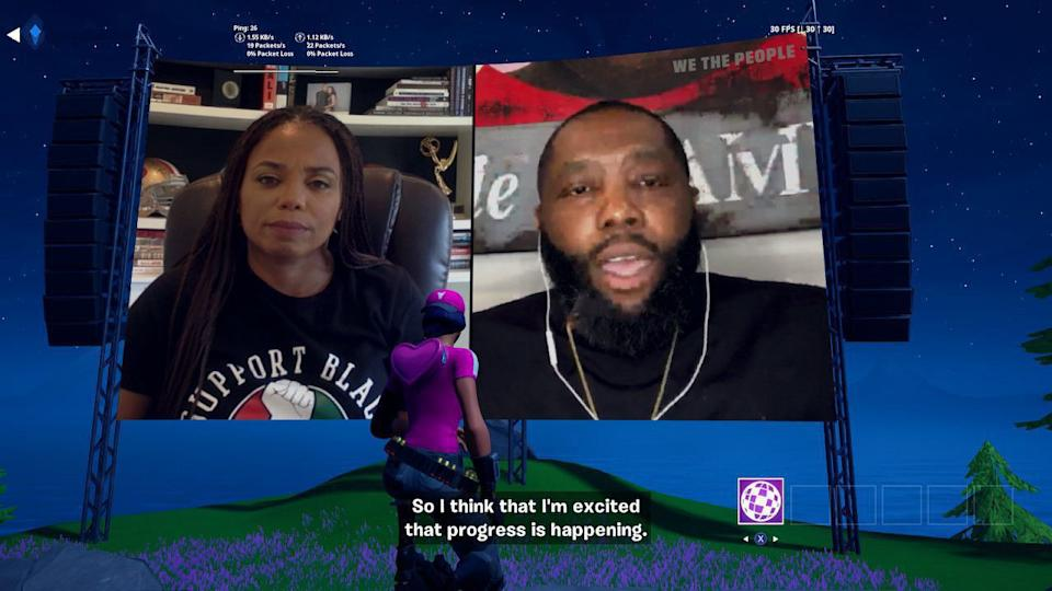 "PASADENA,  - JULY 04:  In this screengrab a special in-game showing of ""We The People"" at Fortnite's Party Royale on July 04, 2020 in South Pasadena, California. We The People is hosted by Van Jones, who is joined by Elaine Welteroth, former Editor-in-Chief of Teen Vogue, Jemele Hill, writer for The Atlantic, Killer Mike, rapper / songwriter, and hip hop musician Lil Baby. Van Jones and guests speak about how to change systemic racism in media, culture and entertainment. (Photo by Neilson Barnard/Getty Images)"