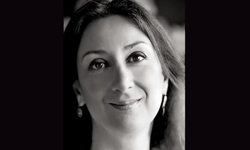 Black and white portrait of Daphne Caruana Galizia