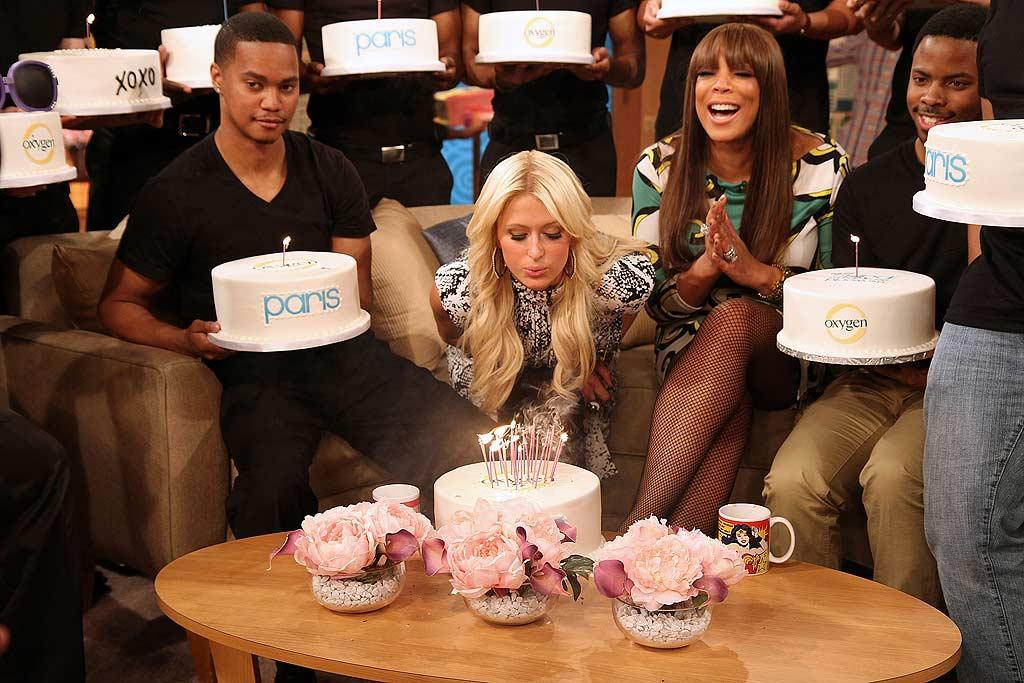 """At an early birthday celebration in L.A. on Tuesday, the heiress' $3,200 cake was stolen from the bash by a party crasher named Paz! But there was no shortage of sweet treats on Wendy's talk show, where Paris got to make several birthday wishes. Taylor Hill/<a href=""""http://www.wireimage.com"""" target=""""new"""">WireImage.com</a> - February 17, 2011"""
