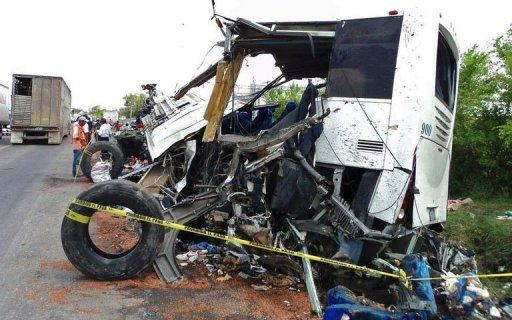 A view of the truck wreckage after it crashed into a bus in the Potrero-Alamo road stretch
