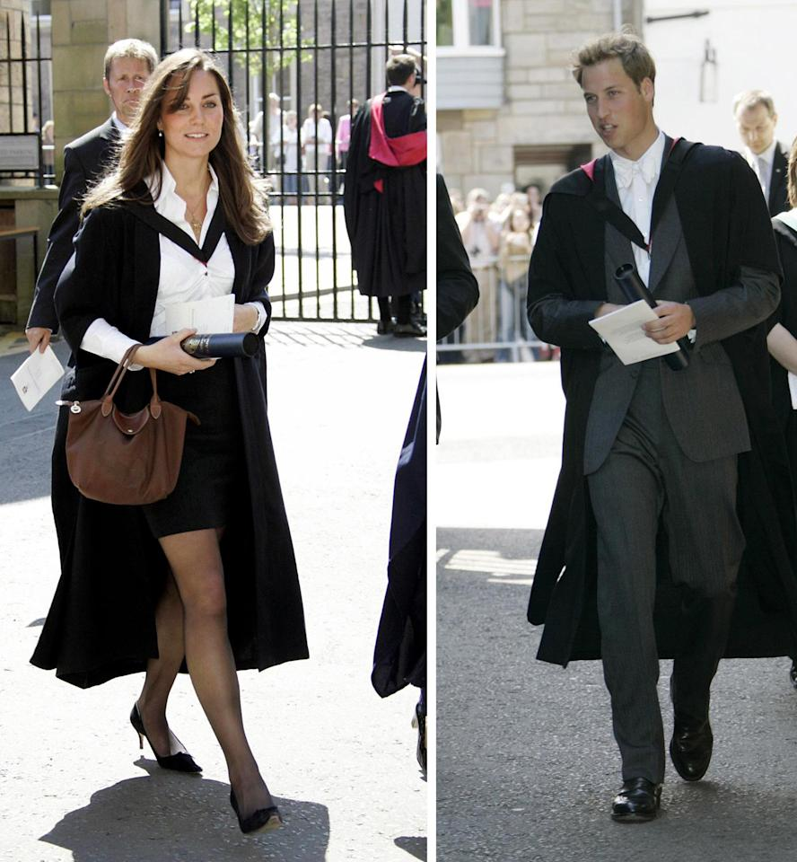 FILE -- June 23 2005 file photos of  Kate Middleton, left, and Britain's Prince William after their graduation ceremony at St Andrews University, in Scotland. Thousands of well-wishers lined the streets of St Andrews to cheer Prince William and his fiancee Kate Middleton as they returned to the university where their romance began, Friday Feb. 25, 2011. The couple, who will marry on April 29, were given a warm welcome by the large crowd who turned out to see them on their first official engagement in Scotland.(AP Photo/Michael Dunlea, pool, file)