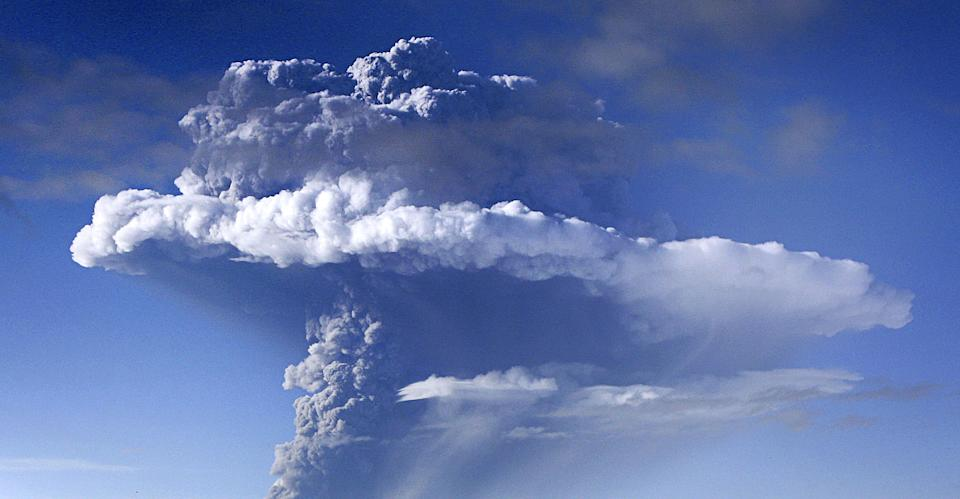 """A cloud of smoke and ash is seen over the Grimsvoetn volcano on Iceland on May 21, 2011. Volcanic ash from Iceland is expected to reach Germany's North Sea coast late on May 24, 2011 forecasters here said, citing information from the Volcanic Ash Advisory Centre at Britain's Met Office. """"We have been informed that there will be concentrations of ash of between 0.2 and 2.0 milligrams in northern areas this evening or tonight,"""" meteorologist Marcus Beyer from the German Weather Service (DWD) told AFP. AFP PHOTO / STRINGER (Photo credit should read STR/AFP via Getty Images)"""