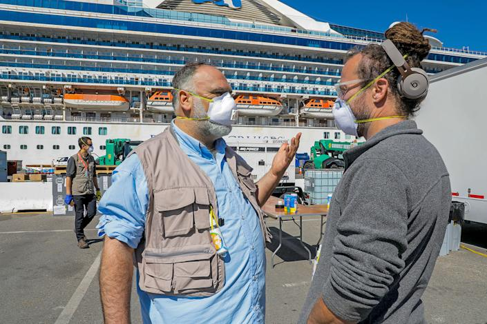 With a World Central Kitchen staffer at a quarantined cruise ship, in Oakland, in March | Scott Hoag—World Central Kitchen