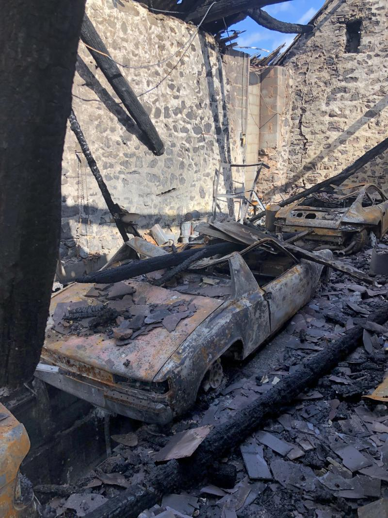 The aftermath of the fire at Williams-Ellis's barn. (Media Wales)