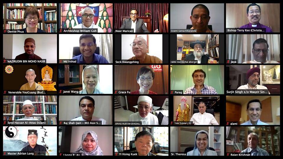 Religious leaders in Singapore, as well as Minister for Culture, Community and Youth Grace Fu, joined the online Inter-Religious Organisation Day 2020 event. (PHOTO: Inter-Religious Organisation, Singapore)