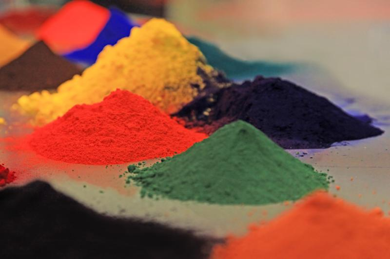 Piles of colored powder coatings