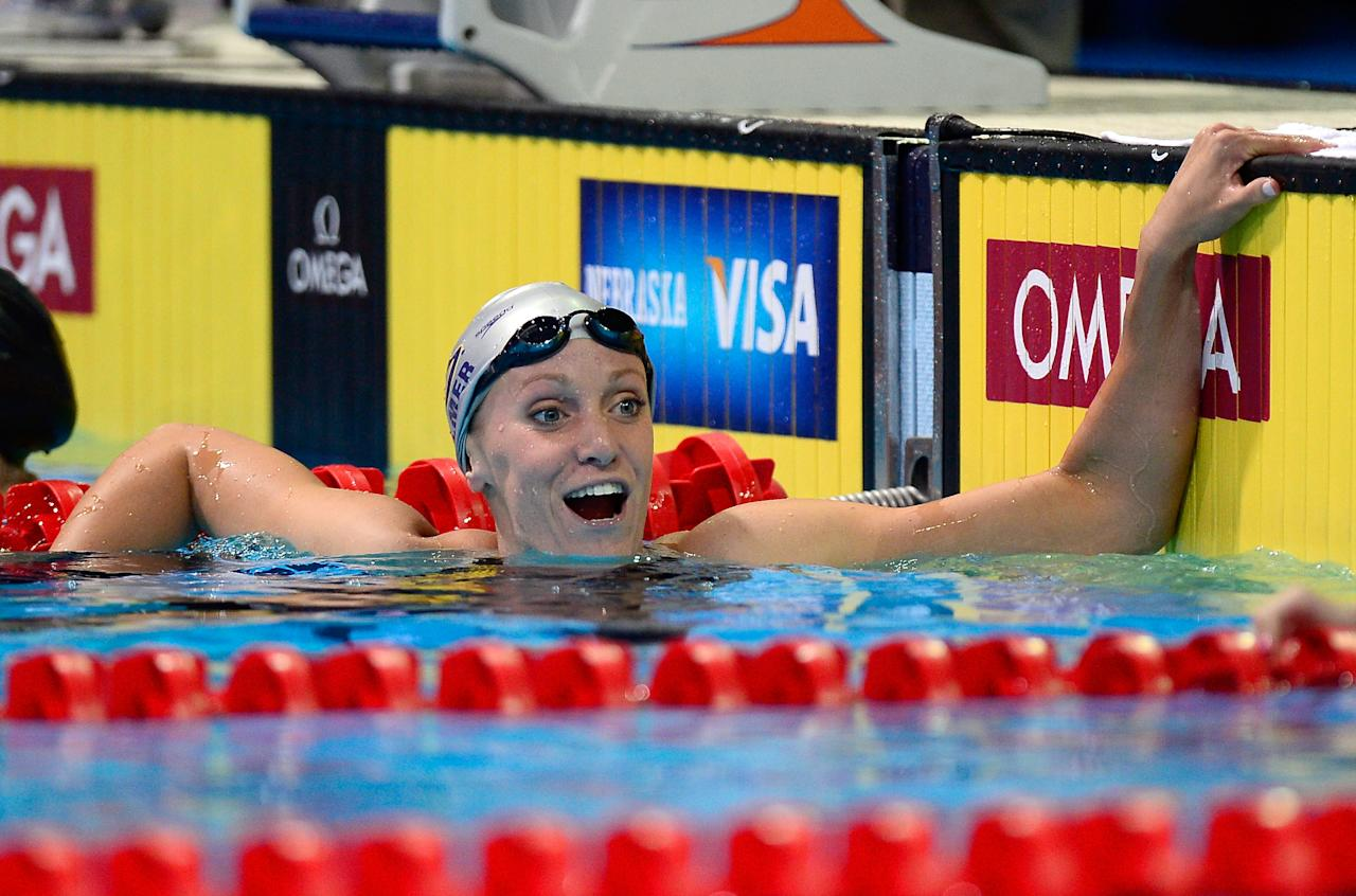 OMAHA, NE - JUNE 28:  Dana Vollmer reacts after they competed in the championship final of the Women's 200 m Freestyle during Day Four of the 2012 U.S. Olympic Swimming Team Trials at CenturyLink Center on June 28, 2012 in Omaha, Nebraska.  (Photo by Jamie Squire/Getty Images)