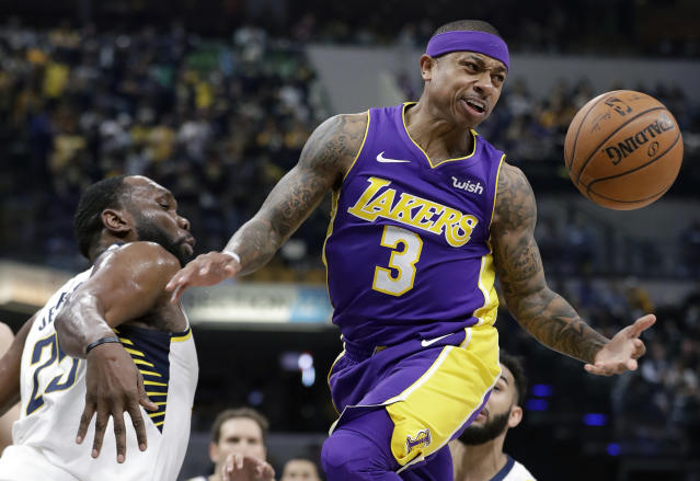 "<a class=""link rapid-noclick-resp"" href=""/nba/teams/lal"" data-ylk=""slk:Los Angeles Lakers"">Los Angeles Lakers</a>' <a class=""link rapid-noclick-resp"" href=""/nba/players/4942/"" data-ylk=""slk:Isaiah Thomas"">Isaiah Thomas</a> (3) has the basketball stripped away by <a class=""link rapid-noclick-resp"" href=""/nba/teams/ind"" data-ylk=""slk:Indiana Pacers"">Indiana Pacers</a>' <a class=""link rapid-noclick-resp"" href=""/nba/players/3832/"" data-ylk=""slk:Al Jefferson"">Al Jefferson</a> during the first half of an NBA basketball game, Monday, March 19, 2018, in Indianapolis. (AP Photo/Darron Cummings)"