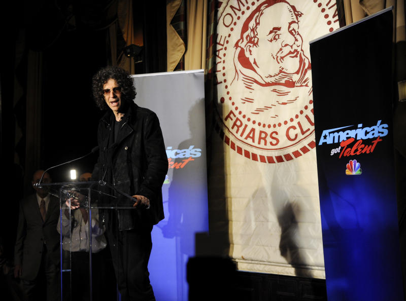 "Satellite radio talk show host Howard Stern, speaks to the media about his new role as a judge on ""America's Got Talent"" at the Friars Club on Thursday, May 10, 2012 in New York. (AP Photo/Evan Agostini)"