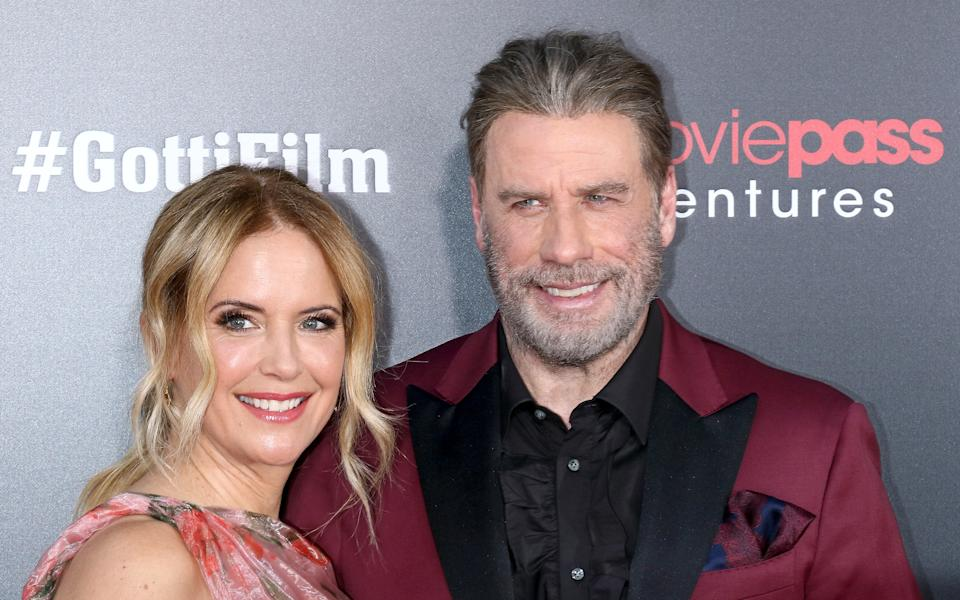"Kelly Preston and John Travolta attend the ""Gotti"" New York premiere at SVA Theater on June 14, 2018 in New York City.  (Photo by Jim Spellman/WireImage)"