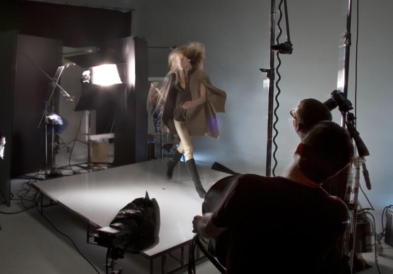 """This April 10, 2013 photo shows fashion model and actress Erin Wasson during a photo shoot for Rockport shoes campaign, in New York. Wasson, 31, is a veteran, claiming countless runway shows and big campaigns for Maybelline, Gap and Elie Saab. Models.com categorizes Wasson as one of the """"money girls."""" (AP Photo/Richard Drew)"""
