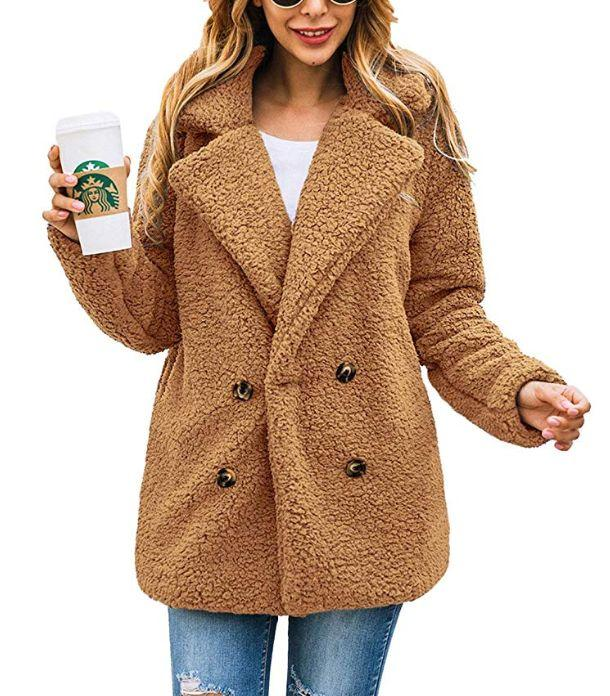 "This teddy coat has double-breasted buttons, an oversized collar with lapels and side pockets. It also comes in a ton of colors and a zip-up style.&nbsp; <a href=""https://amzn.to/32wMwR5"" target=""_blank"" rel=""noopener noreferrer""><strong>Find it for $32 on Amazon</strong></a>."
