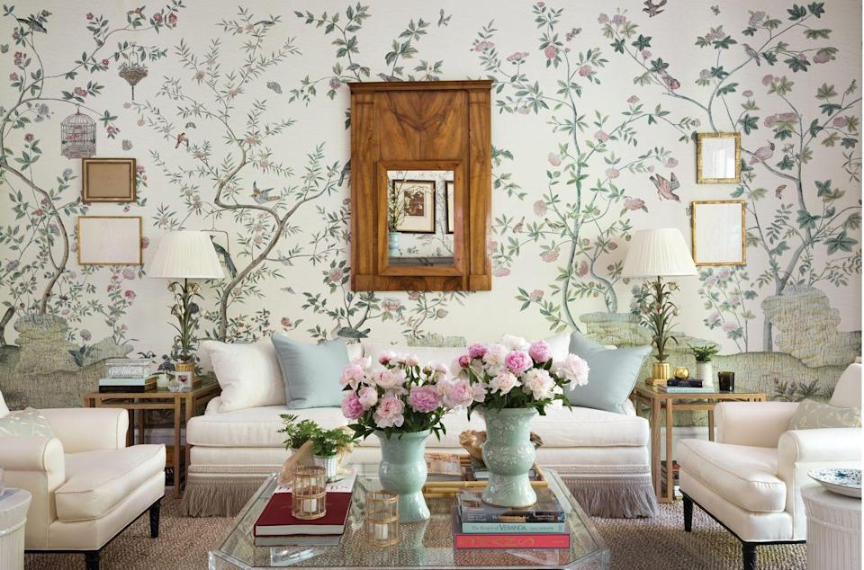 """<p>Brimming with sweet hues, delicate floral motifs, and treasured heirlooms, ladylike rooms embrace a softer side of design and exude sophistication. Here, Atlanta-based designer <a href=""""https://www.veranda.com/decorating-ideas/house-tours/a33487574/beth-webb-brays-island-house-tour/"""" rel=""""nofollow noopener"""" target=""""_blank"""" data-ylk=""""slk:Beth Webb"""" class=""""link rapid-noclick-resp"""">Beth Webb</a> covered the living room walls in a lyrical print inspired by Queen Victoria's bedroom (Xanadu Landscape). <br> </p>"""