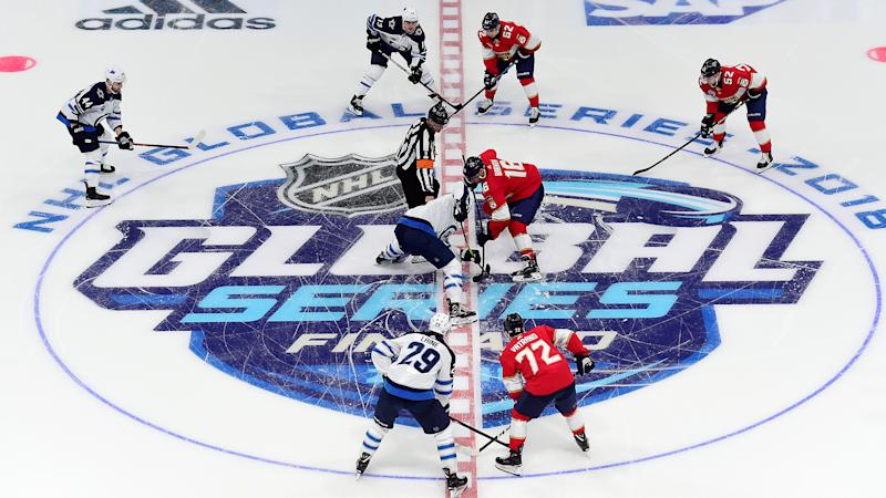 HELSINKI, FINLAND - NOVEMBER 01: An overall of the opening face-off in the first period during the 2018 NHL Global Series between the Winnipeg Jets and Florida Panthers at Hartwall Arena on November 1, 2018 in Helsinki, Finland. (Photo by Patrick McDermott/NHLI via Getty Images)